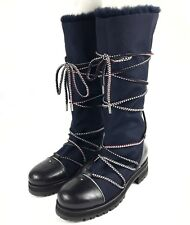 7e4b143d5343 NEW 10.5   40.5 Jimmy Choo Navy Blue Lace Up Fur Lined Winter Boot