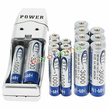 8 AA +8 AAA 1000mAh 3000mAh 1.2V NI-MH BTY Rechargeable Battery + USB Charger