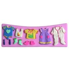 Baby Clothes 11 Cavities Silicone Mold for Fondant, Gum Paste, Chocolate, Crafts