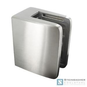 Edelstahl Glashalter 60 x 70mm Glasklemme Blechklemme V2A V4A Klemme
