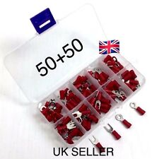 100 Red Insulated Fork And Ring Terminals Electrical Crimp Cable Connectors Kit