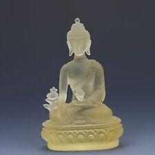 Chinese Yellow Coloured Glaze Handwork Pharmaclsts Buddha Statues Good