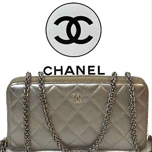 AUTHENTIC CHANEL CC QUILTED LAMBSKIN ZIP AROUND WALLET~y🇺🇸US SELLER