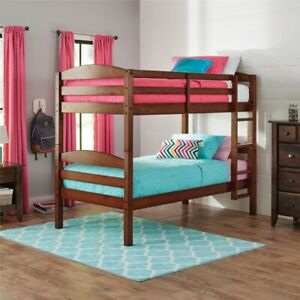 Modern Wood Twin Over Twin Bunk Beds Frame Ladder Kids Bed Bedroom Cherry