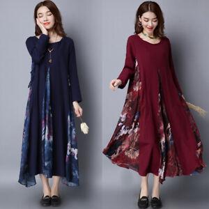 Oversize Femme Loose Floral Coton en lin Manche longue Party Club Robe Dresse