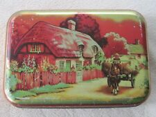 """Vintage """"Blue Bird"""" toffee tin, thatched roof home depicted, made in England"""
