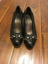 ATTILIO GIUSTI LEOMBRUNI BLACK LEATHER CAPTOE 2.5 Inch HEEL SHOES 41(US9.5) ITAL