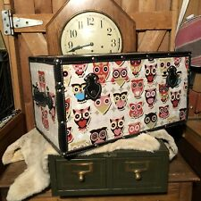 OWL Decor trunk Case storage Faux Leather Handles Trim Brass Feet Solid Quality