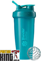 BLENDER BOTTLE CLASSIC 825mL TEAL SHAKER PROTEIN MIXER CUP CARRY LOOP BPA FREE