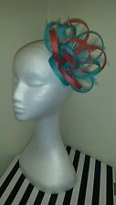 Coral and Turquoise / lagoon fascinator /hatinator for wedding/races