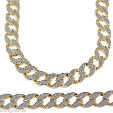 "Sand Blast Cuban Chain Gold Tone Heavy 18MM Wide Men 30"" Chunky Hip Hop Necklace"