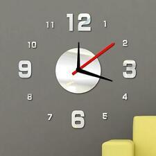 New Fashion Modern Diy Wall Clock 3D Mirror Surface Sticker Home Decor Silver