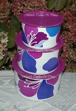Tupperware Spring Blossoms Stacking Canister Set Purple Flowers