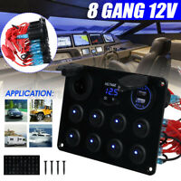 8 Gang 12V Switch Panel For Caravan Yacht Blue Light LED Dual USB+ Display