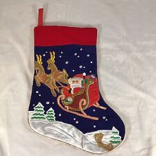 "Vintage 16"" Embellished Christmas Stocking Santa Presents And Sleigh Reindeer"