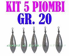5 PIOMBI A PERA CON GIRELLA GR 20 PESCA BOLENTINO SURF CASTING LEDGERING LAGO