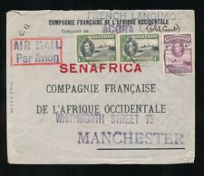 GOLD Coast Kg6 Airmail FAO società a senafrica Manchester 2S + 6D franking