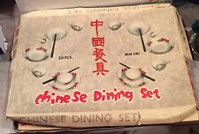 Vintage Doll Chinese Metal Dishes w/ Chop Sticks - Dining Set