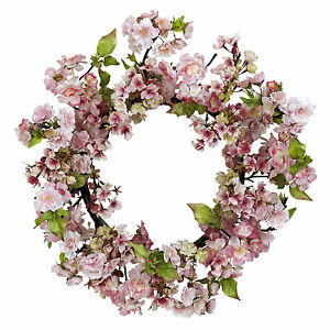 24 in Cherry Blossom Wreath Wall Decor Pink Floral Faux Silk 4783 Nearly Natural