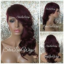 Layered Full Wig Bangs Shaved Side Loose Wavy Curly Burgundy Long Side Heat Safe