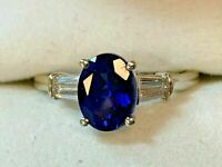 2.85Ct Oval Cut Blue Sapphire Solitaire Engagement Ring 14K White Gold Finish