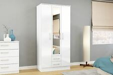 Birlea Lynx High Gloss All White 3 door Mirror 2 drawer bedroom wardrobe new