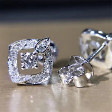 1.14Ct Round Cut Simulant Diamond Cluster Stud Earrings Silver White Gold Finish