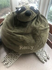 Pottery Barn Woodland Raccoon Corduroy Bean Bag Cover. COVER ONLY - MONO REMY