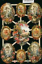 # GLANZBILDER # EF 7364, Engel mit Blumenkranz umrandet , wunderschön