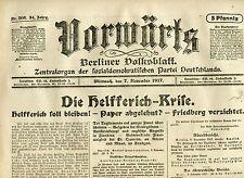 VORWÄRTS (7. November 1917): Die Helfferich-Krise
