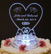Monogram Heart Lighted Wedding Cake Topper Acrylic Cake LED Personalize Engraved