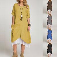 ZANZEA Women Round Neck Long Sleeve Cotton Dress Ladies Baggy Midi Shirt Dresses