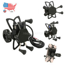 """Motorcycle 7/8"""" Handlebar Cell Phone Holder Mount w/USB Charger for Smartphone"""