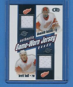 2003 Pacific  Quad Jersey  Red Wings--Hasek, Hull, Lidstrom, Williams!