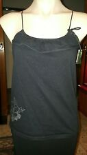 WOMENS Sz 8-10 black & silver TARGET floral cami / tank top LOVELY!