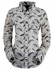 OUTBACK TRADING Co. Shirt Ladies Western Black Swan Feather print 3X NWT