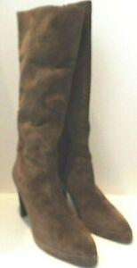 "Newport News Brown Platfoam High Heel Boots Genuine Leather Upper 7.5 Wide 4"""