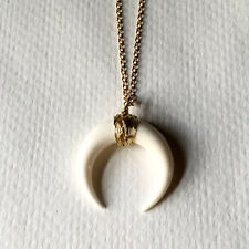 White/Black Bone Double Horn Necklace Crescent Moon Charm Pendant Gold Chain