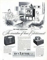 1950 RCA Victor Vintage Print Ad The Cornerstone Of Home Entertainment
