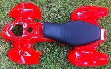 """ATV Quad Body Plastic fender 44"""" x24"""" & Seat Peace kid ATV Taotao 110L 110cc Red"""