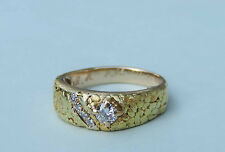 Men's Diamond Solitaire Natural Gold Ring w/ 4 Accent Diamonds - 14k Yellow Gold
