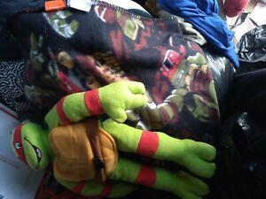 Lot 2 Red Ninja Turtle Sleep Set-blanket,doll,- Rapheal