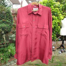 Mens Baggy Shirt - Vintage 1980s - 100% Silk - Red Iced Tomato - Medium