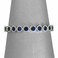 2Ct Round Cut Blue Sapphire Vintage Eternity Wedding Band 14K White Gold Finish