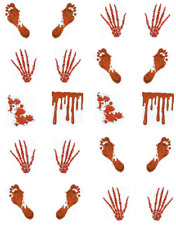 Bloody Hand and Foot Prints Halloween Waterslide /Water Transfer Nail Decals