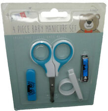 New 4 Piece Baby Manicure Set in Blue Nail Scissors Clippers Toddler Child Boy