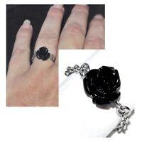 Bague fine chaine chainette acier (coul argent ) rose noire fleur bijou ring
