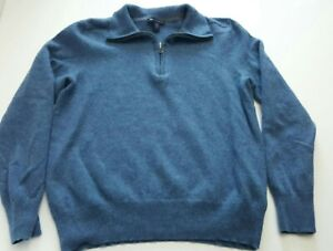Gap Boys Sweater Size L Wool 1/4 Zip Preppy Pullover blue