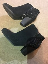 New Guess Shoes Black Women Boots Suede Booties with Stud Size 7.5