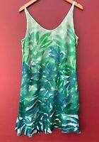 Cabi Castaway Dress Medium Green Floral Palm Leaf Print 5235 Tropical Shift Mini